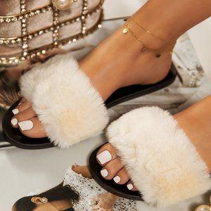 NEW Fluffy Faux Fur Slide Sandal Slipper Open Toe